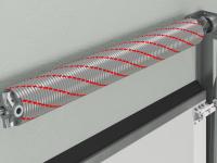 Пружинный механизм на торсионных пружинах обеспечивает долговечность конструкции ворот, рассчитан на 25 000 циклов.