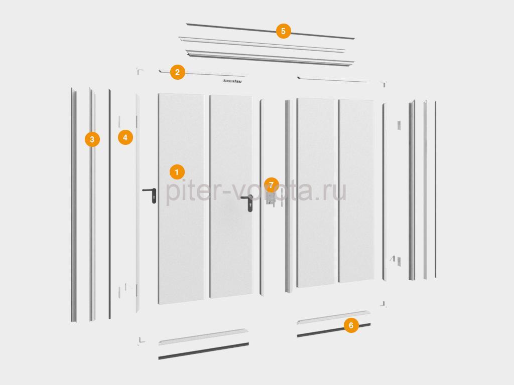 Конструкция технологической двустворчатой двери