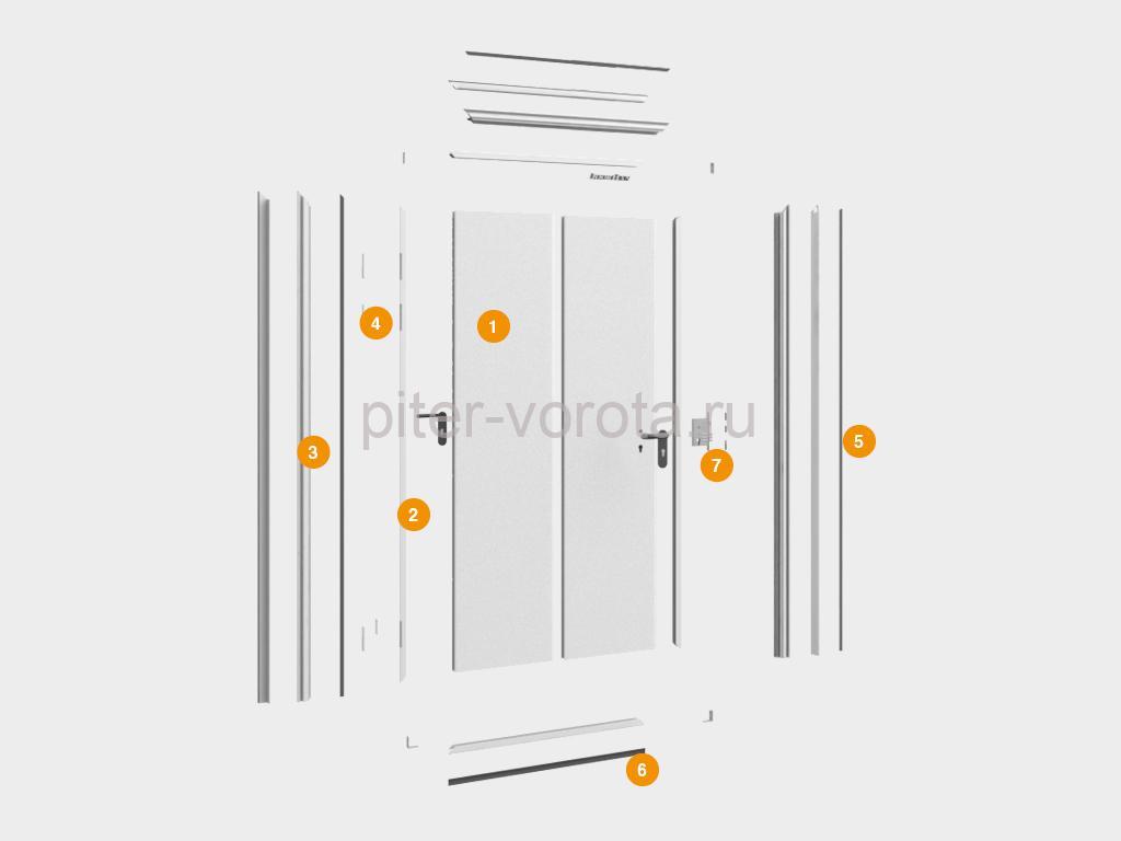 Конструкция технологической одностворчатой двери